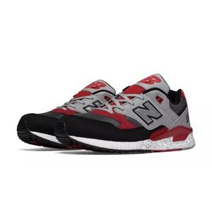 New Balance 530 Red Black White Speckled Sneakers
